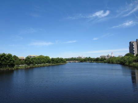 Charles river with bridge in distance by Harvard University taken on bridge in Boston. photo