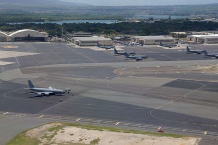 airpower: Aeriel of Planes at Joint Base Pearl Harbor-Hickam on Oahu, Hawaii.