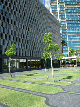 HONOLULU, HI - JUNE 23, 2014:  Garden at Historic IBM Building after a $20 million makeover on Oahu, Hawaii.  at 1240 Ala Moana Blvd. was designed by the famed late architect Vladimir Ossipoff.