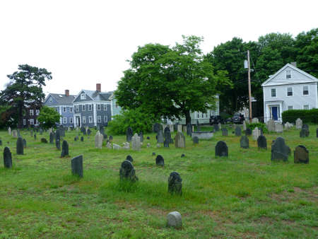 Historic Graveyard, The Burying Point, has been used since 1637, on a overcast wet day in Salem, Masachusetts