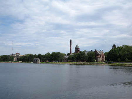 waterworks: Historic Waterworks Museum on the original Chestnut Hill Reservoir and pumping station in Boston on a nice day. Stock Photo