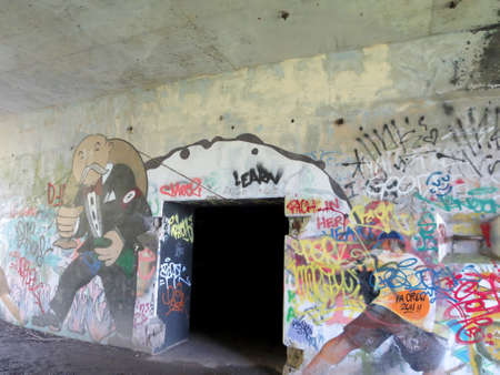 ows: PEAKS ISLAND, MAINE - JUNE 2 2014: Beautifully conceived and executed Occupy Wall Street themed graffiti among other tags at Battery Steele (1942), also known as U.S. Army Corps of Engineers Battery Construction #102, a United States military fortificatio