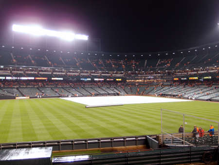 md: Baltimore, MD - JUNE 11: tarp to cover infield to save it from rain during rain delay at oriole park at camden yards June 11, 2014 in Baltimore, MD.
