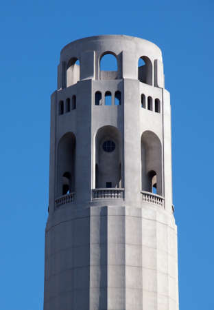 coit: Top of Coit Tower in San Francisco on a clear day