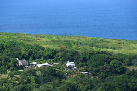 coral bell: Aerial view of Coral Miracle Church, Wailua Peninsula on the road to Hana on Maui