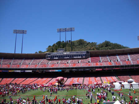 SAN FRANCISCO, CA - JUNE 12: 49er football fans explore various activities at FanFest to kickoff the new season in one of there last years played at Historic Candlestick Park June 12, 2010 San Francisco, CA. Editorial