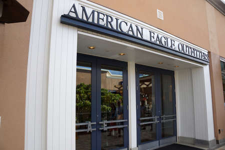 american eagle: HONOLULU - AUGUST 7, 2014: An American Eagle Outfitters store at the Ala Moana Center on August 7, 2014.  American Eagle Outfitters is a clothing and accessories retailer.
