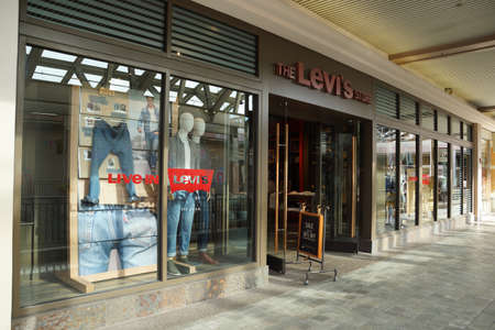 levi: HONOLULU - AUGUST 7, 2014: Levi Strauss store at the Ala Moana Center Founded in 1853, Levi Strauss is an American clothing company best known for its brand of denim jeans on August 7, 2014. Editorial