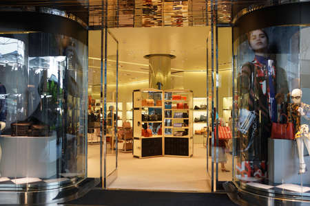prada: HONOLULU - AUGUST 7, 2014:  :  Entrance to Prada store at the Ala Moana Center, Prada is a luxury leather and fashion company with world renown. Taken on August 7, 2014.