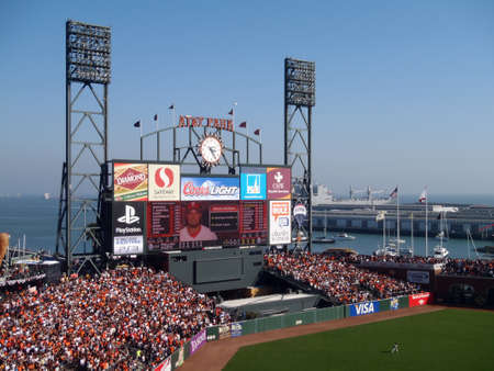 SAN FRANCISCO, CA - OCTOBER 19: San Francisco Giants vs. Philadelphia Phillies: Outfield, packed bleachers, Scoreboard featuring line-up and Shane Victorino, and boats in McCovey Cove during game three of the NLCS 2010 taken October 19, 2010 AT&T Park San