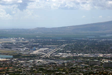 Aerial view of H-1 Highway as it passes by the airport heading to pearl harbor on Oahu, Hawaii. photo
