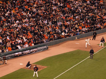 ca he: SAN FRANCISCO, CA - OCTOBER 20:  Reliever Jeremy Affeldt throws pitch in Bullpen to warm up in case he is to be called into game 4 of the 2010 NLCS game between Giants and Phillies Oct. 20, 2010 AT&T Park San Francisco, CA. Editorial