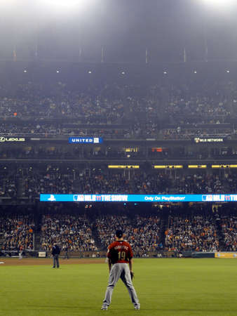outfield: SAN FRANCISCO, CA - AUGUST 27: Giants vs. Astros: Astros right fielder Brian Bogusevic stands in the outfield waiting for play during night baseball game on August 27, 2011 AT&T Park San Francisco.