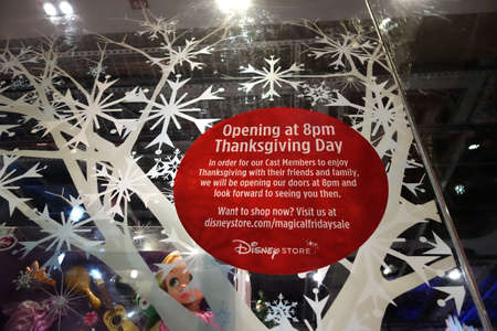 thursday: HONOLULU, HI - NOVEMBER 22: Opening at 8pm Thanksgiving Day for Grey Thursday sign at the Disney store in the Ala Moana shopping center. taken on November 22, 2014 at Aloha Stadium in Honolulu, Hawaii. Editorial