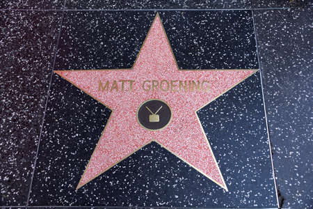 walk of fame: LOS ANGELES, USA - JANUARY 23, 2014: Matt Groening, creator of the Simpsons, star on the Hollywood Walk of Fame on January 23, 2014 in Los Angeles. Stars on the Walk of Fame draw tourists from all over the world.