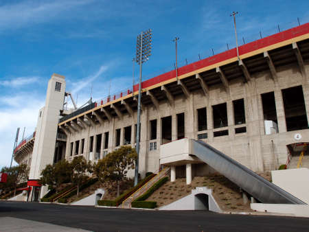 trojans: LOS ANGELES - JANUARY 21: Exterior of Memorial Coliseum stadium which is the site of many landmark events including two summer Olympics the latest in 1984. The landmark building may become obsolete due to safety issues. January 21, 2014, Los Angeles.