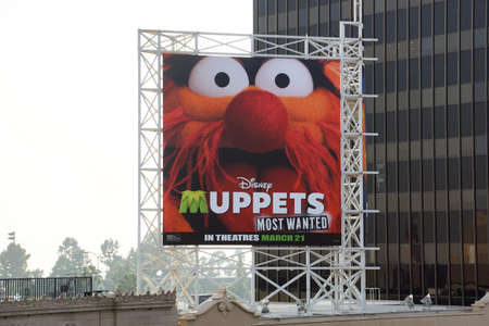 most talent: LOS ANGELES, USA - JANUARY 23, 2014: Disney Muppets Most Wanted in theatres March 21 billboard on Hollywood Boulevard featuring a photo of the character Animal.