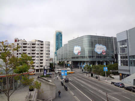 headquartered: SAN FRANCISCO - MAY 9: SaleForce Convention at 4th and Howard streets in the Moscone Center on August 27 2011 in San Francisco. Salesforce Inc. is a global cloud computing company headquartered in San Francisco, California. Editorial