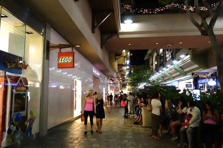 thursday: HONOLULU, HI - NOVEMBER 27: People around mall near Lego store and veronica secret on Grey Thursday at the Ala Moana shopping center. taken on November 27, 2014 at Ala Moana Shopping center in Honolulu, Hawaii. Editorial