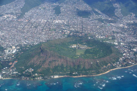 diamond head: Aerial of Diamond Head Crater, Kaimuki, Kahala, and Honolulu on nice day. November 2014. Stock Photo