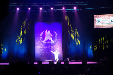 comedian: HONOLULU, HI - NOVEMBER 29, 2014: Comedian Gabriel Iglesias preforms on stage at the Iconic concert hall the Neal Blaisdell Center Honolulu, Hawaii November 29, 2014.
