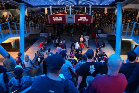 levis: SANTA CLARA - MARCH 29: People ride down escalator toward mass transit and parking lot to leave Wrestlemania 31 at the Levis Stadium in Santa Clara, California on March 29, 2015. Editorial