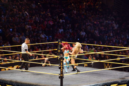 collide: SAN JOSE - MARCH 27: NXT Female wrestlers Charlotte Flair and Sasha Banks collide in ring during divas championship match at the San Jose Event Center in San Jose, California on March 27, 2015.