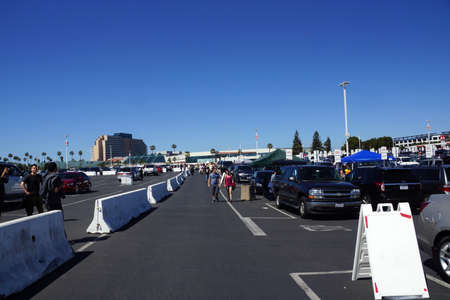 levis: SANTA CLARA - MARCH 29: People walking and tailgate in parking lot before the start of the showcase of the immortals, Wrestlemania 31, at the Levis Stadium in Santa Clara, California on March 29, 2015.