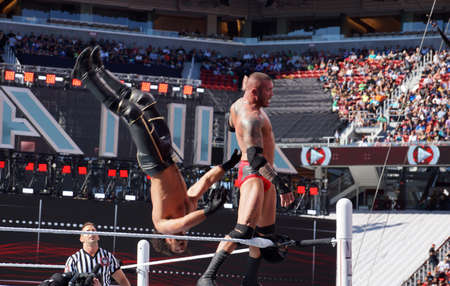 backflip: SANTA CLARA - MARCH 29: WWE Wrestler Randy Orton backflips Seth Rollins off the top turnbuckle during match at Wrestlemania 31 at the Levis Stadium in Santa Clara, California on March 29, 2015.