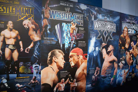 ranging: SAN JOSE - MARCH 28: Display of Wrestlemania posters ranging from Wrestlemania 18-21 at WWE Axxess event at the McEnery Convention Center in San Jose, California on March 28, 2015.