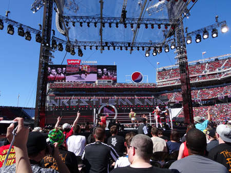 levis: SANTA CLARA - MARCH 29: WWE Cesaro swings wrestler during tag team championship match at Wrestlemania 31 pre show at the Levis Stadium in San Clara, California on March 29, 2015.