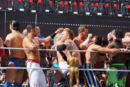 fandango: SANTA CLARA - MARCH 29: WWE Wrestlers fight in ring during andre the giant battle royal 2015 at Wrestlemania 31 at the Levis Stadium in Santa Clara, California on March 29, 2015.