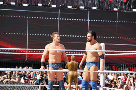 ring stand: SANTA CLARA - MARCH 29:  WWE Wrestlers Miz and Mizdow stand in the ring during andre the giant battle royal 2015 at Wrestlemania 31 at the Levis Stadium in Santa Clara, California on March 29, 2015. Editorial