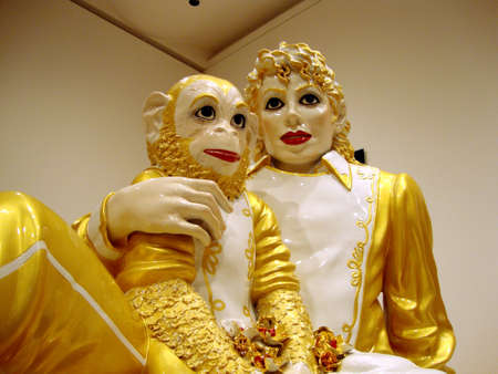 michael jackson: SAN FRANCISCO - APRIL 5: Jeff Koons - Michael Jackson and Bubbles porcelain sculptures. On display at the San Francisco MOMA 75th anniversary show. San Francisco California, April 5, 2010.