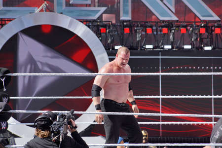 levis: SANTA CLARA - MARCH 29: WWE Wrestler Kane stands in ring during andre the giant battle royal 2015 at Wrestlemania 31 at the Levis Stadium in Santa Clara, California on March 29, 2015.