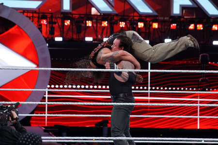 undertaker: SANTA CLARA - MARCH 29: WWE Wrestler the Undertaker tombstone piledrivers Bray Wyatt middle of ring during match at Wrestlemania 31 at the Levis Stadium in Santa Clara, California on March 29, 2015. Editorial