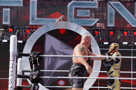 golddust: SANTA CLARA - MARCH 29: WWE Wrestler Big Show puts hand around neck of Golddust to setup for a chokeslam during andre the giant battle royal 2015 at Wrestlemania 31 at the Levis Stadium in Santa Clara, California on March 29, 2015.