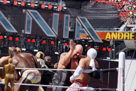 show ring: SANTA CLARA - MARCH 29: WWE Wrestler Big Show moves hand to slap chest of Los Matadores as other wrestlers fight in ring during andre the giant battle royal 2015 at Wrestlemania 31 at the Levis Stadium in Santa Clara, California on March 29, 2015.