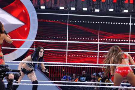 lockup: SANTA CLARA - MARCH 29: WWE Diva Paige and Nikki Bella set to lock-up in ring during tag match at Wrestlemania 31 at the Levis Stadium in Santa Clara, California on March 29, 2015. Editorial