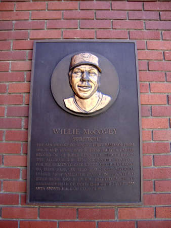 legend: SAN FRANCISCO - APRIL 6: Plaque of baseball legend Willie McCovey on wall of AT&T Park in Mission Bay San Francisco California, April 6, 2010. Editorial