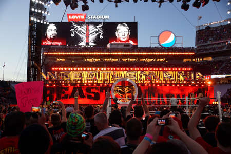 levis: SANTA CLARA - MARCH 29: WWE Champion Brock Lesner enters arena at, showcase of the immortals, Wrestlemania 31, as night falls with fans cheering at the Levis Stadium in Santa Clara, California on March 29, 2015.