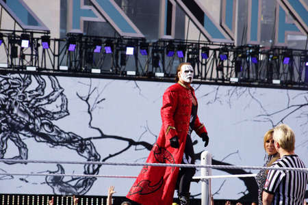 sting: SANTA CLARA - MARCH 29: WWE wrestler Sting Stands on top of turnbuckle before match at Wrestlemania 31 at the Levis Stadium in Santa Clara, California on March 29, 2015.