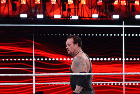 undertaker: SANTA CLARA - MARCH 29: WWE Wrestler the Undertaker stares across ring during match at Wrestlemania 31 at the Levis Stadium in Santa Clara, California on March 29, 2015.