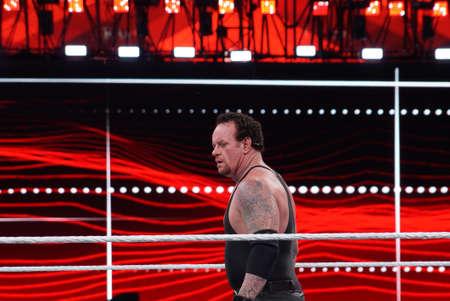 undertaker: SANTA CLARA - MARCH 29: WWE Wrestler the Undertaker stares across ring during match at Wrestlemania 31 at the Levis Stadium in Santa Clara, California on March 29, 2015.