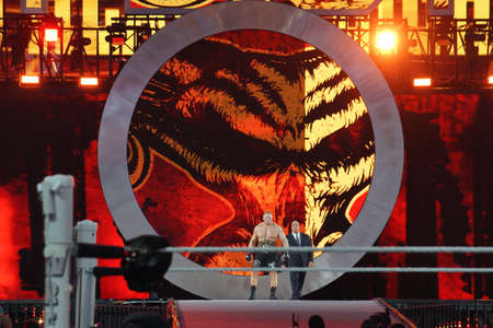 brock: SANTA CLARA - MARCH 29: WWE Champion Brock Lesner and agent Paul Heyman enters arena at, showcase of the immortals, Wrestlemania 31, as night falls with fans cheering at the Levis Stadium in Santa Clara, California on March 29, 2015. Editorial