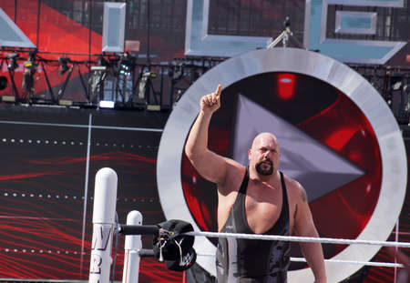 levis: SANTA CLARA - MARCH 29: WWE Wrestler Big Show holds finger in the air after winning andre the giant battle royal 2015 at Wrestlemania 31 at the Levis Stadium in Santa Clara, California on March 29, 2015. Editorial