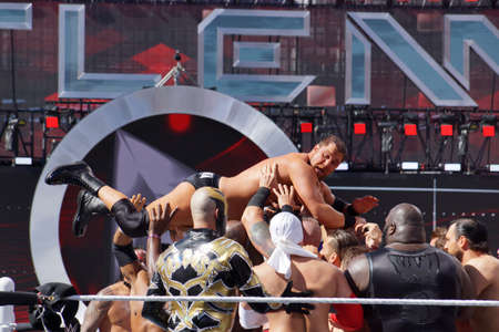 SANTA CLARA - MARCH 29: WWE Wrestlers team up to float Curtis Axel, axelmania, out of the ring during andre the giant battle royal 2015 at Wrestlemania 31 at the Levis Stadium in Santa Clara, California on March 29, 2015.