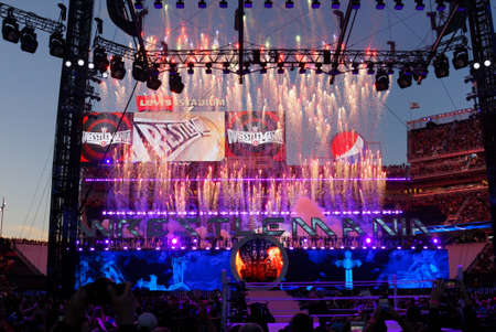 undertaker: SANTA CLARA - MARCH 29: Fireworks burst in the air after WWE Wrestler the Undertaker beats Bray Wyat after match at Wrestlemania 31 at the Levis Stadium in Santa Clara, California on March 29, 2015.