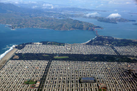 marin: Golden Gate Bridge, Ocean Beach and the Sunset District of San Francisco and Marin County seen from the Air.