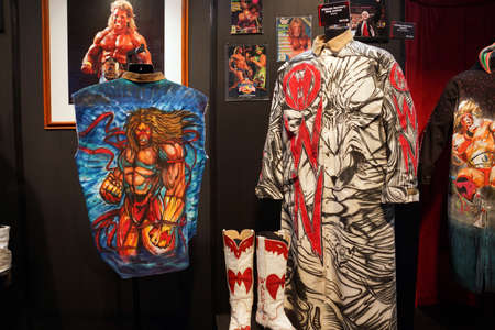 wrestlers: SAN JOSE - MARCH 28: WWE Legend the Ultimate Warrior OWN outfit and photo display at WWE Axxess event at the McEnery Convention Center in San Jose, California on March 28, 2015. Editorial